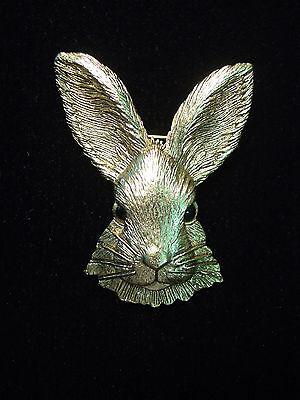 Jj  Jonette Jewelry Antique Gold Pewter Beautiful Rabbit Head Pin