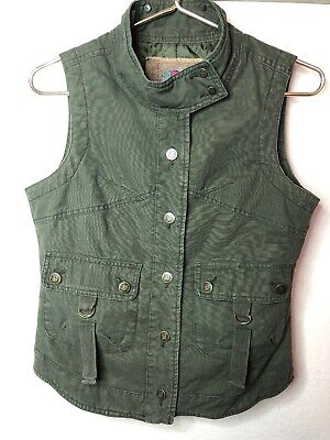 BB Dakota Olive Army Green Button Up Sleeveless Jacket Best Size