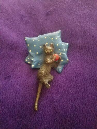 Antique Vintage Cold-Painted Viennese Bronze Black Cat on Cushion
