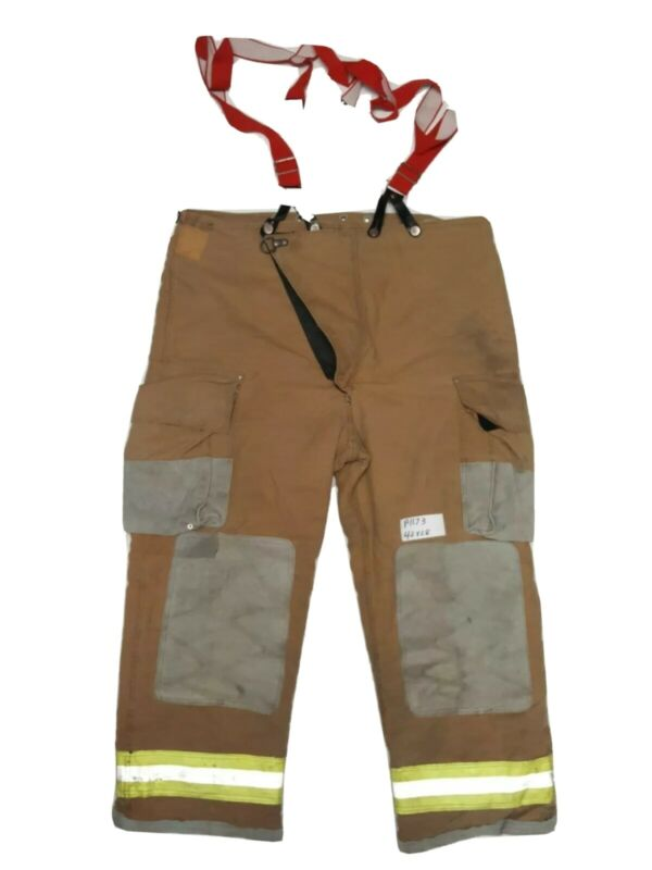 42x28 Globe Firefighter Turnout Bunker Pants With Suspenders Yellow Tape P1173