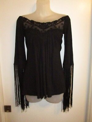 Sky Clothing Brand NWT Off Shoulder Tunic Top Knit Lace Fringe Sleeve Black CHIC