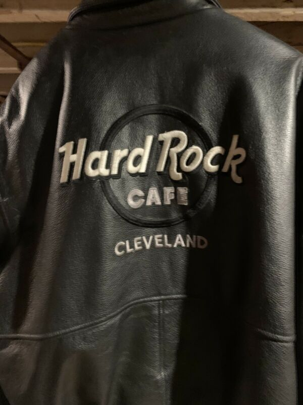 Hard Rock Cafe Leather Coat Cleveland Large Adult Unisex