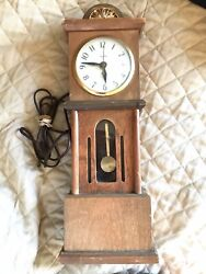 Vintage United Clock Corp. Working Mini Electric Wooden Grandfather Mantel Clock