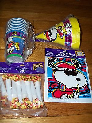 Snoopy Jazz Birthday Party Supplies Multi-color 5pc Lot Party Express NOS