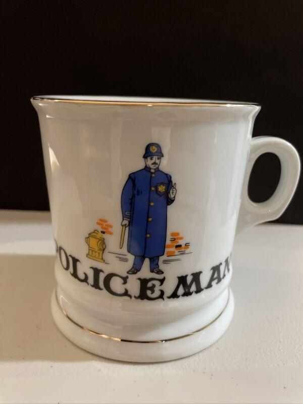 "Vintage Policeman Shave Mug Cup 3 6/8"" Tall, 4 1/2"" Wide Including Handle"