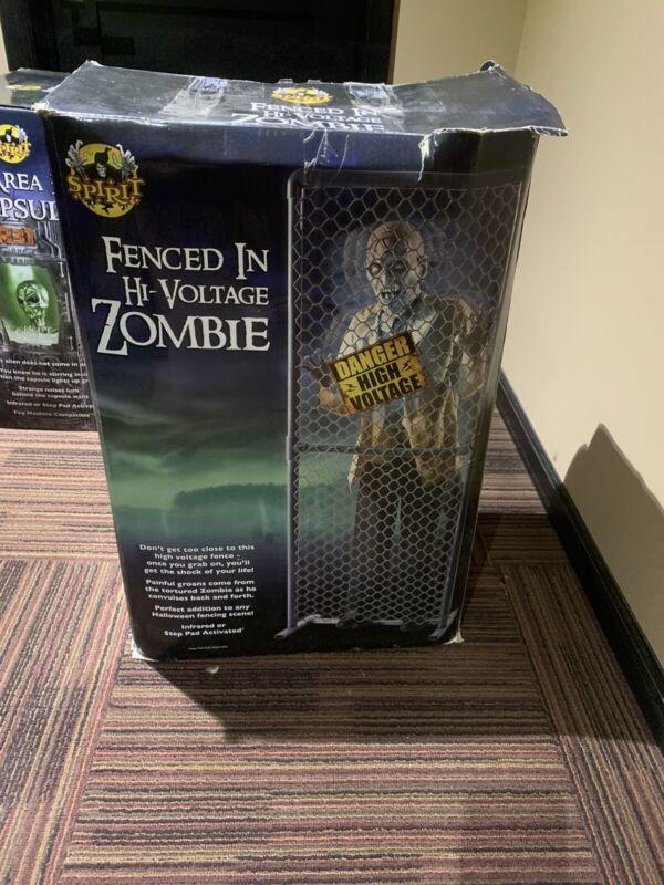 5 Ft Hi Voltage Fenced In Zombie Animatron Spirit Halloween -Rare Discontinued