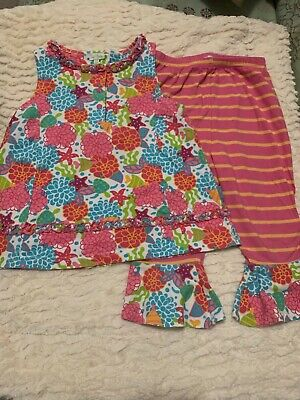 Le Top boutique girls sz 6X tunic and ruffle pant set - VGUC