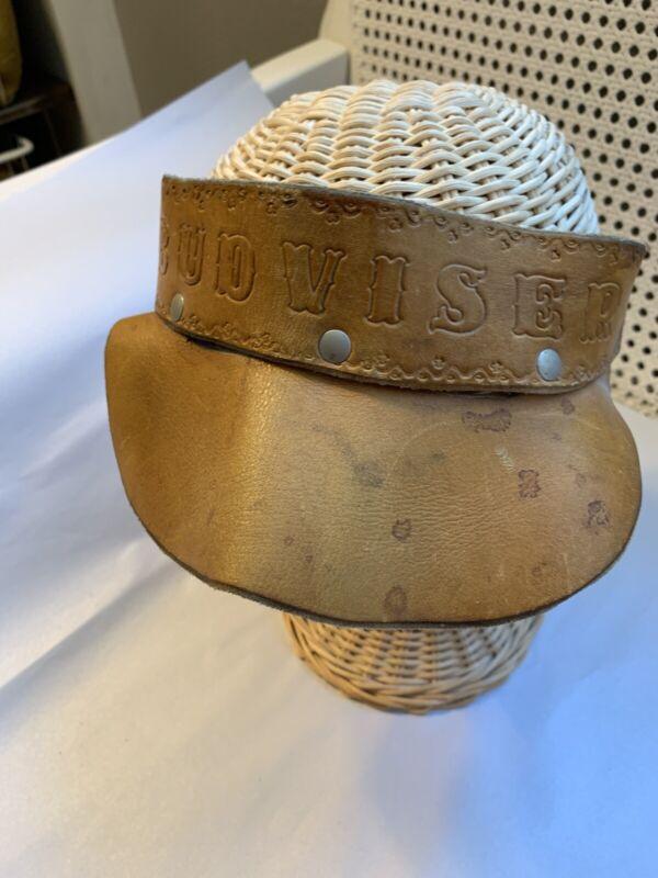 Vintage 1970s Budweiser Leather VISOR HAT CAP very cool Americana!
