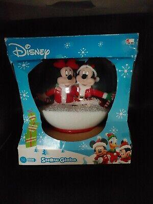 Disney Mickey & Minnie Christmas Musical Snow Globe plays Carols lights up Rare