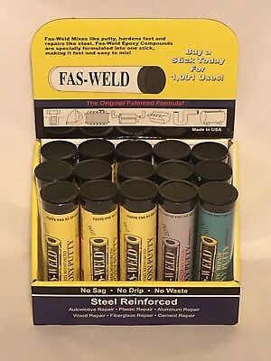 Fas-weld Epoxy Putty-15 Piece Tubes Display-steel Aluminum Plastic Reinforced