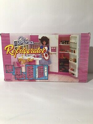 GLORIA DOLL HOUSE SIZE Double Doors REFRIGERATOR PLAY SET FOR DOLLS READ