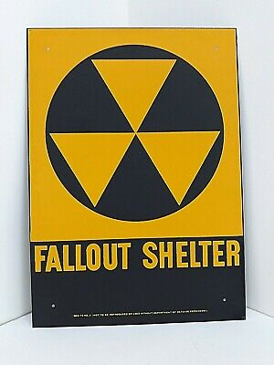 Fallout Shelter Sign Original 1960's, U.S. Gov't Issue, 10 X 14, Galv.Steel, NOS
