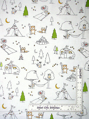 Camp Smore Tent Camper RV White Cotton Fabric Ink & Arrow Fabrics By The Yard, used for sale  Pittsburgh
