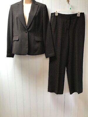 Jones New York 2PC Black Lavender Pinstriped Blazer Jacket Pant Suit Size 8