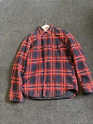 GANT RUGGER Shirt Red Plaid WINTER TWILL Cotton Flannel Lined MEDIUM