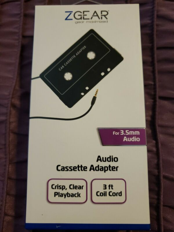 ZGEAR Audio Cassette Adapter 3.5mm Audio 3ft Cord Car Adapter NIB