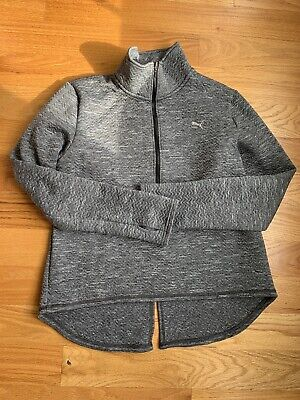 Puma Ladies Quilted Quarter-Zip Pullover jacket HEATHER GREY LARGE WARM CELL