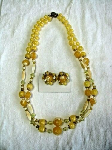 Vintage Necklace and Clip Earrings Set-2 Strand-Shades of Yellow-Frosted-Has tag