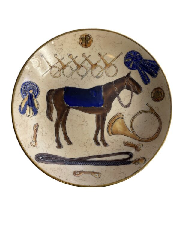 Race Horse and Bridle Blue Hand Painted Decorative Plate Oklahoma Importing Co.