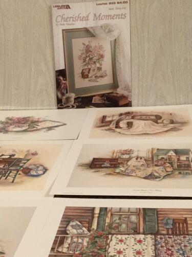 Paula Vaughan Cherished Moments #33 Cross Stitch Pattern & Lot of 6 Small Prints