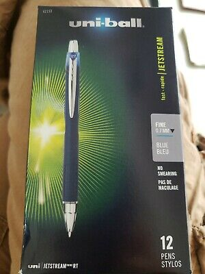 Uni-ball Jetstream Rt Retractable Roller Ball Pen Fine 0.7mm Blue Ink Blue Ba