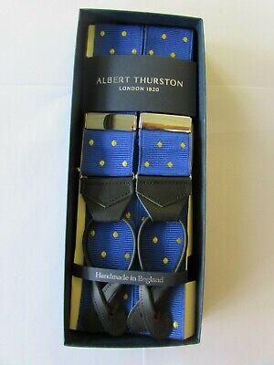 ALBERT THURSTON LEATHER END BRACES ROYAL BLUE YELLOW SPOT ()