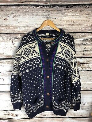 Nepal Fair Isle Wool Heavy Knit Cardigan Sweater w/ Pockets Wood Buttons sz. L for sale  Shipping to Canada