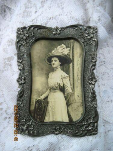 Stunning Vintage Ornate Silver Metal Frame w/Floral Border~Victorian Gal Photo