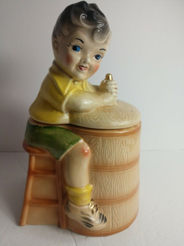 "Vintage Shawnee Boy on Butter Churn Cookie Jar - Excellent Condition 12"" Tall"