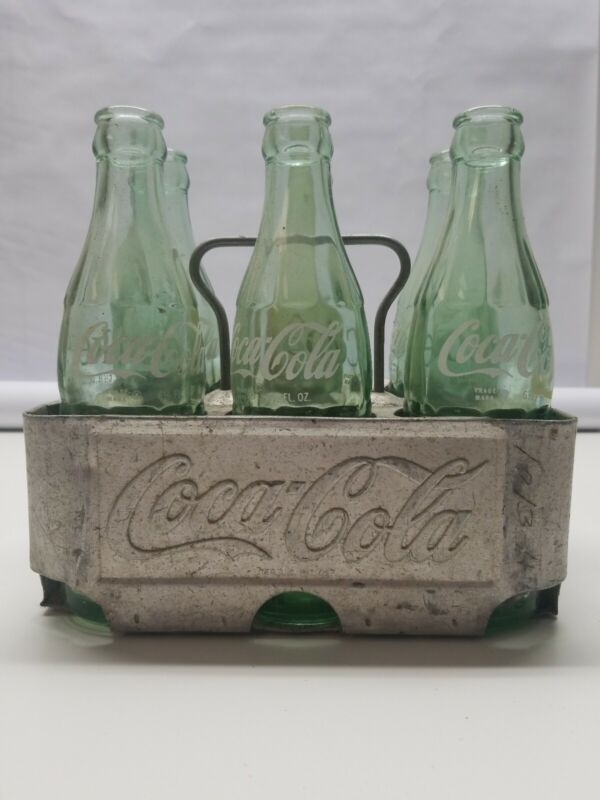 Vintage Coca-Cola Metal 6 Pack Carrying Aluminum Case w/6 1950-60s Glass Bottles