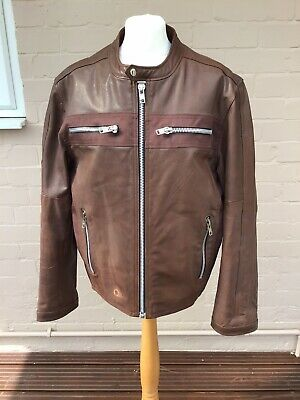 Vintage 90s Peter Werth Brown Leather Biker Jacket Medium with fault