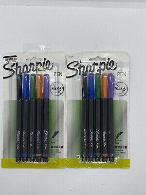 2 Sharpie Pen Stick Fine 5 Pack - Multi-color 10 Total Pens