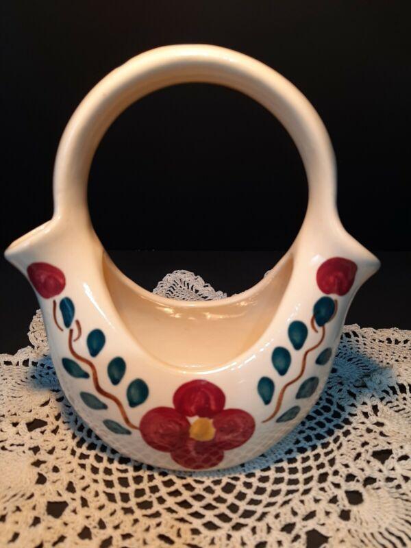 "Vintage Mid-Century PURINTON POTTERY Mountain Rose Wedding Basket 6 1/2"" tall"