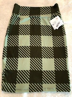 *NEW* LuLaRoe Cassie Pencil Skirt Olive/Fern Green Checkered Print Size M](Green Checkered Skirt)