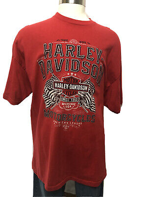 Harley Davidson T-shirt Red 3XL Ted's O'Fallon, IL Made in the USA Eagle Flags