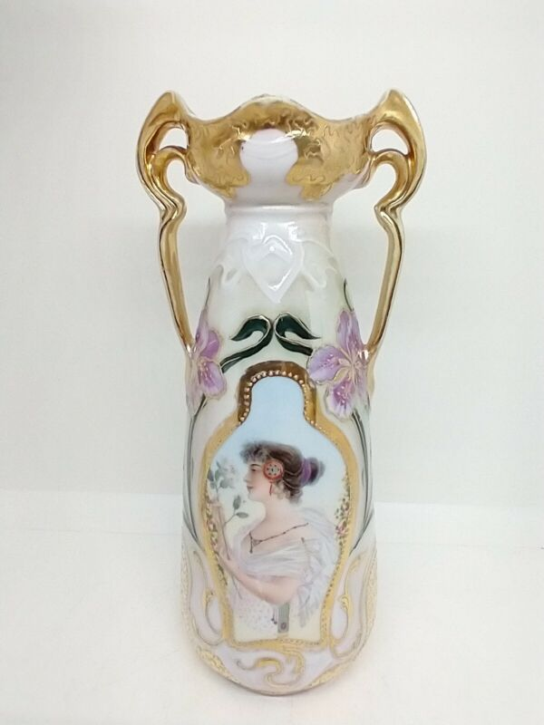 """Prov Sax ES Prussia Portrait Vase Gibson Girl 9.25"""" Iridescent Gold Hand Painted"""