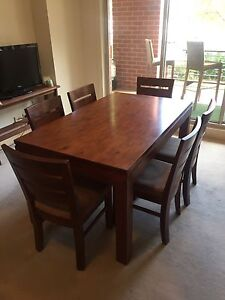 Bargain! Solid Wooden Table + 6 Chairs South Yarra Stonnington Area Preview