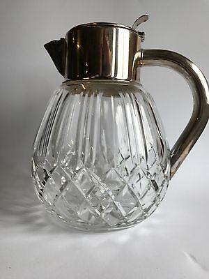 Kalte Ente Kristall Karaffee Saftkanne versilberte Montur mit Kühleinsatz