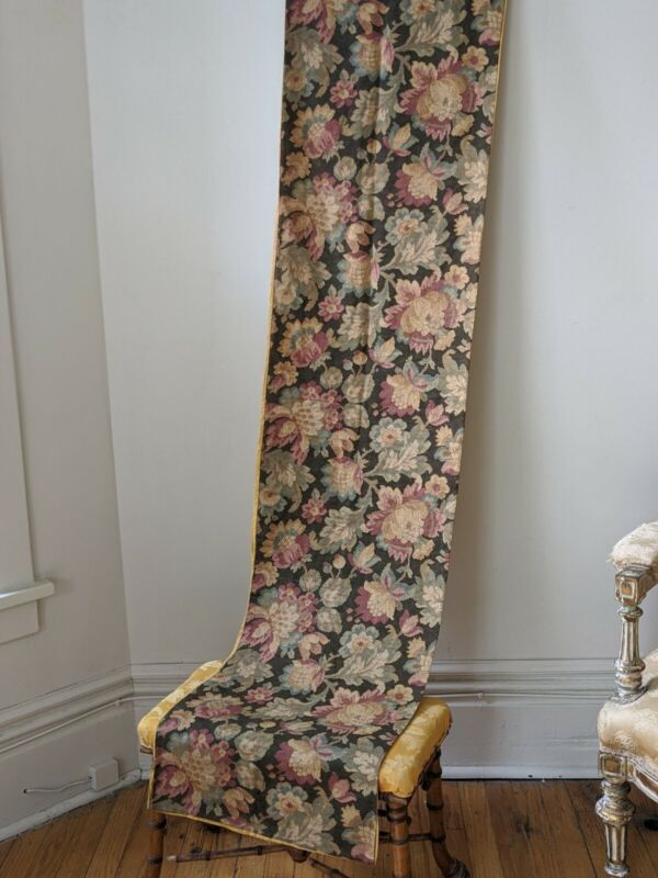 Antique 19th c. English Floral Textile Table Runner Heavy linen Yellow Silk