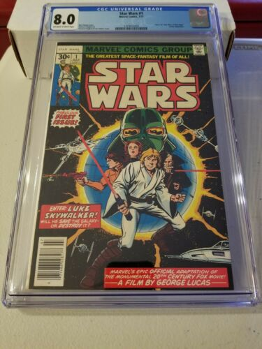 1977 Marvel Comics: STAR WARS 1 CGC 8.0 First appearance Luke Skywalker