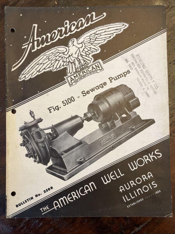 Vintage American Well Works Aurora Illinois Sewage Pumps Bulletin