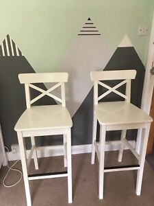 Two counter height white chairs - IKEA Ingolf
