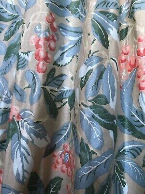 """Laura Ashley Curtains Berries & Leaves LONG PAIR & Ties Lined W104""""xD88"""" Vintage"""