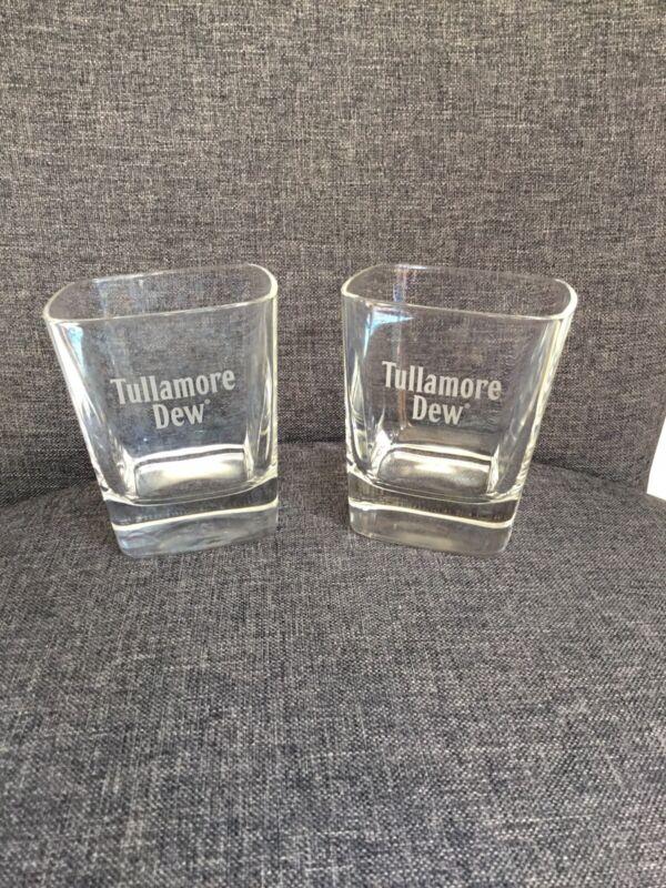 Set Of 2 TULLAMORE DEW IRISH WHISKEY HEAVY Square GLASS TUMBLERS