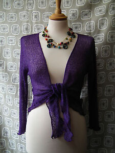 GRINGO-FINE-KNIT-SHRUG-NET-MESH-CARDIGAN-FAIR-TRADE-FREE-SIZE-6-20