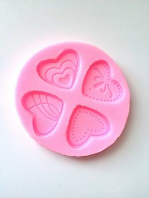 Four Hearts Heart Silicone Mold Fondant Mat Cake Decorating Cupcake Candy Soap