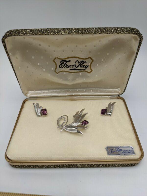 Vintage Tru-Kay Sterling Silver Purple Brooch Screwback Earrings