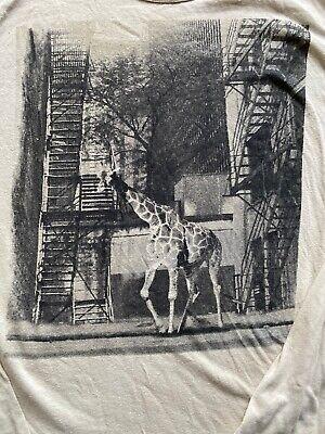 Zara Urban Jungle Long Sleeve T Shirt Beige Giraffe Size L Large Linen Cotton