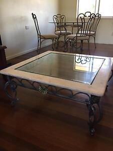 Marble glass and wrought iron antique coffee table Thorneside Redland Area Preview