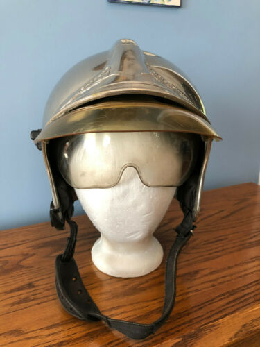 Vintage CGF Gallet Chrome French Firefighter Helmet w/ Visor ~ Sapeurs Pompiers
